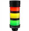 Qronz 3 Stack LED Tower Light, Red Yellow Green, Quick Disconnect, 12V, w/ Alarm