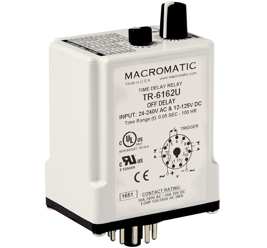 Macromatic TR-6162U Time Delay Relay, Off Delay, 24-240VAC on