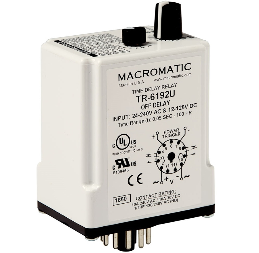 Macromatic TR-6192U 24-240VAC Off Delay Time Delay Relay on delay timer relay, macromatic alternating relay, abb alternating relay, macromatic phase monitor relay,