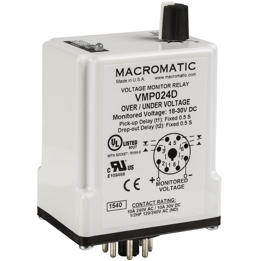 Macromatic VMP110D 110V DC Over/Undervoltage Monitor Relay, Fixed Time on