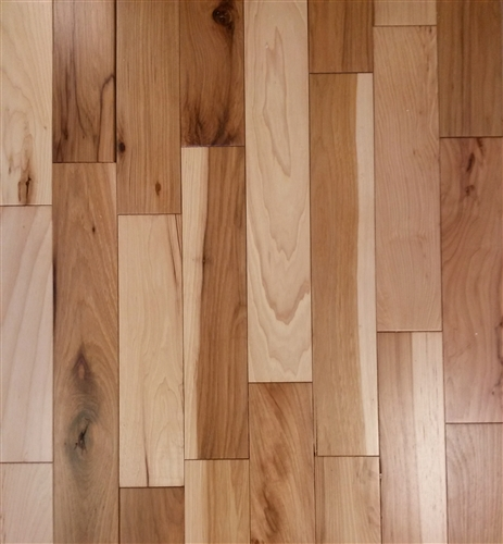 """3"""" X 3/4"""" Solid Pre Finished Hickory Natural Cabin Grade"""