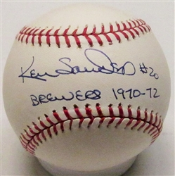 KEN SANDERS SIGNED MLB BASEBALL W/ BREWERS 1970-72