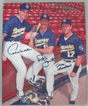 ROBIN YOUNT PAUL MOLITOR JIM GANTNER SIGNED 16X20 BREWERS STRETCHED CANVAS