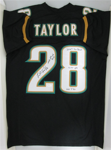 New fred taylor signed custom jaguars jersey with career stats jsa  free shipping