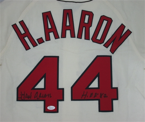 reputable site fa7f4 03f1a HENRY HANK AARON SIGNED 1963 MITCHELL & NESS JERSEY W/ HOF
