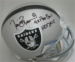 TIM BROWN SIGNED FULL SIZE RAIDERS AUTHENTIC HELMET W/ 2 SCRIPTS - BCA