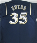 BRENT SUTER SIGNED BREWERS CUSTOM NAVY JERSEY