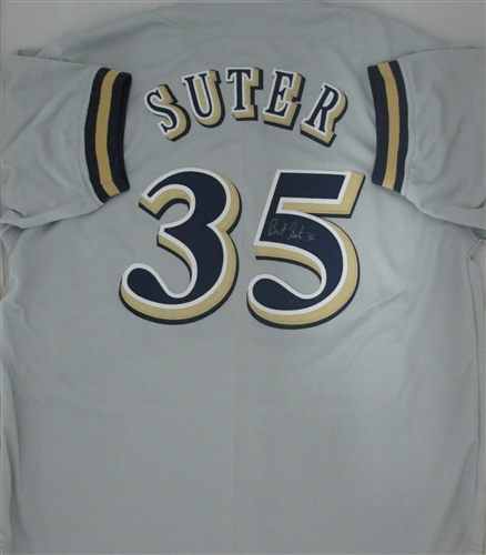 on sale 4ec59 237bf BRENT SUTER SIGNED BREWERS CUSTOM GREY JERSEY