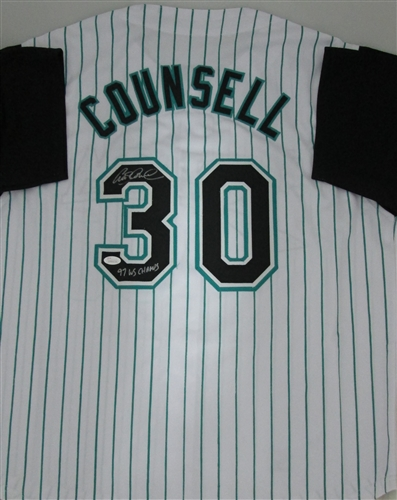 CRAIG COUNSELL SIGNED MARLINS CUSTOM PINSTRIPE JERSEY W/ WS CHAMPS - JSA