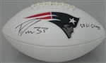 DION LEWIS SIGNED WHITE PANEL PATRIOTS LOGO FOOTBALL W/ SB CHAMP - JSA