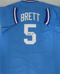 GEORGE BRETT SIGNED CUSTOM REPLICA ROYALS BLUE JERSEY - JSA