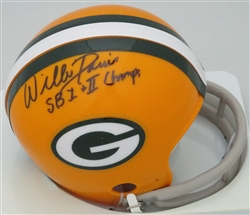 WILLIE DAVIS SIGNED PACKERS 2 BAR MINI HELMET W/ SB CHAMPS