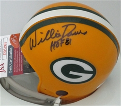 WILLIE DAVIS SIGNED PACKERS 2 BAR MINI HELMET W/ HOF #1 - JSA