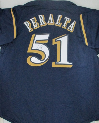 competitive price 104d2 939c4 FREDDY PERALTA SIGNED BREWERS CUSTOM NAVY JERSEY - JSA