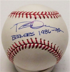 ROB DEER SIGNED OFFICIAL MLB BASEBALL W/ BREWERS 1986-90