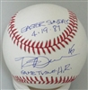 ROB DEER SIGNED OFFICIAL MLB BASEBALL W/ EASTER SUNDAY HR