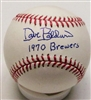 DAVE BALDWIN SIGNED OFFICIAL MLB BASEBALL W/ 1970 BREWERS