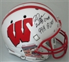 RON DAYNE SIGNED FULL SIZE WI BADGERS REPLICA HELMET W/ 3 SCRIPTS - JSA