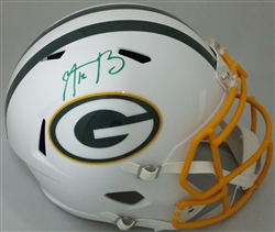 AARON RODGERS SIGNED FULL SIZE PACKERS FLAT WHITE REPLICA HELMET - FAN