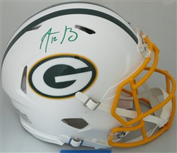 AARON RODGERS SIGNED FULL SIZE PACKERS FLAT WHITE AUTHENTIC HELMET - FAN