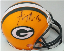 AJ HAWK SIGNED PACKERS MINI HELMET