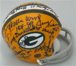 1966- 67 MULTI SIGNED 2 BAR PACKERS MINI HELMET  - 26 AUTOS