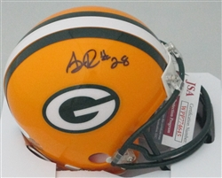 AJ DILLON SIGNED PACKERS MINI HELMET - JSA