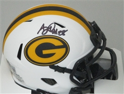 AJ DILLON SIGNED PACKERS FLAT WHITE MINI HELMET - JSA