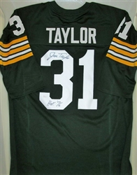 JIM TAYLOR SIGNED CUSTOM HOME GREEN JERSEY W/ HOF