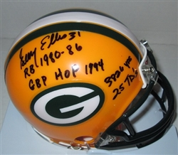 GERRY ELLIS SIGNED PACKERS MINI HELMET W/ SCRIPTS
