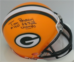 TOM BROWN SIGNED PACKERS MINI HELMET w/ SB I & II CHAMPS