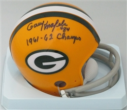 GARY KNAFELC SIGNED PACKERS MINI HELMET W/ 61 62 CHAMPS