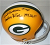DICK DESCHAINE SIGNED PACKERS MINI HELMET W/ YEARS