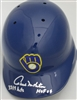 "PAUL MOLITOR SIGNED ""RETRO"" BREWERS FULL SIZE HELMET w/ HOF HITS"