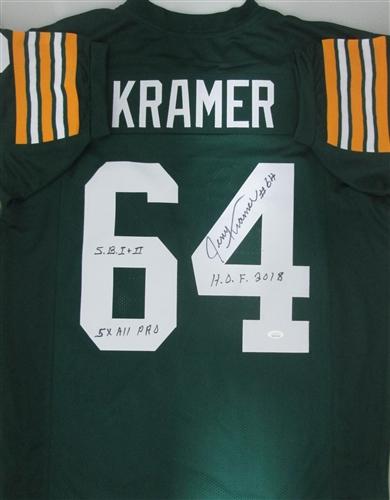 f3b96e5eb592a jerry kramer signed custom packers jersey w/ 3 scripts - jsa