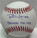 PAUL WAGNER SIGNED MLB BASEBALL W/ BREWERS 1997-98