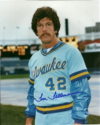 TOM TELLMANN SIGNED 8X10 BREWERS PHOTO #1