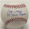 RAY CRONE SIGNED MLB BASEBALL W/ 1957 MILW BRAVES