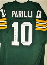 BABE PARILLI SIGNED CUSTOM PACKERS JERSEY W/ STATS