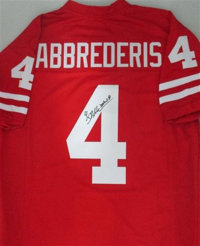 JARED ABBREDERIS SIGNED CUSTOM RED BADGERS JERSEY