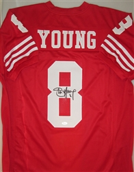 new concept 8fba0 788e2 STEVE YOUNG SIGNED CUSTOM RED 49ers JERSEY - JSA