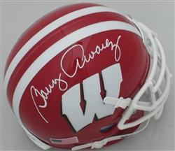 BARRY ALVAREZ SIGNED BADGERS SCARLETT MINI HELMET