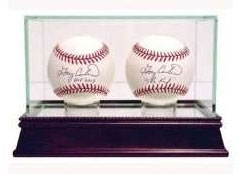 CHERRY WOOD GLASS DUAL BASEBALL DISPLAY CASE