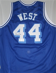 JERRY WEST SIGNED CUSTOM WEST VIRGINA MOUNTAINEERS JERSEY - JSA