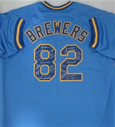 1982 BREWERS TEAM SIGNED CUSTOM BLUE JERSEY 21 SIGS - YOUNT, MOLITOR