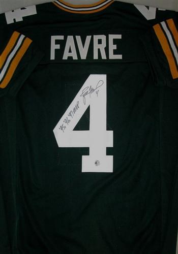 0facac8f9a7 brett favre signed replica green packers jersey w/ 95 96 97 mvp