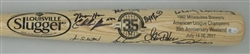 1982 BREWERS TEAM SIGNED LOUISVILLE SLUGGER 35TH ANNIVERSARY BAT