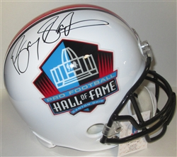 BARRY SANDERS SIGNED REPLICA HOF LOGO HELMET - BECKETT