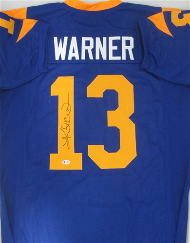 quality design f2303 d7e0e KURT WARNER SIGNED CUSTOM RAMS JERSEY - BECKETT