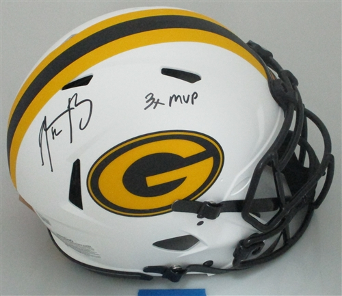 ef9a18fda aaron rodgers signed full size packers ice speed helmet